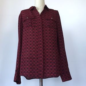 NWT Red/Black Pattered Blouse W/ Silver Accents